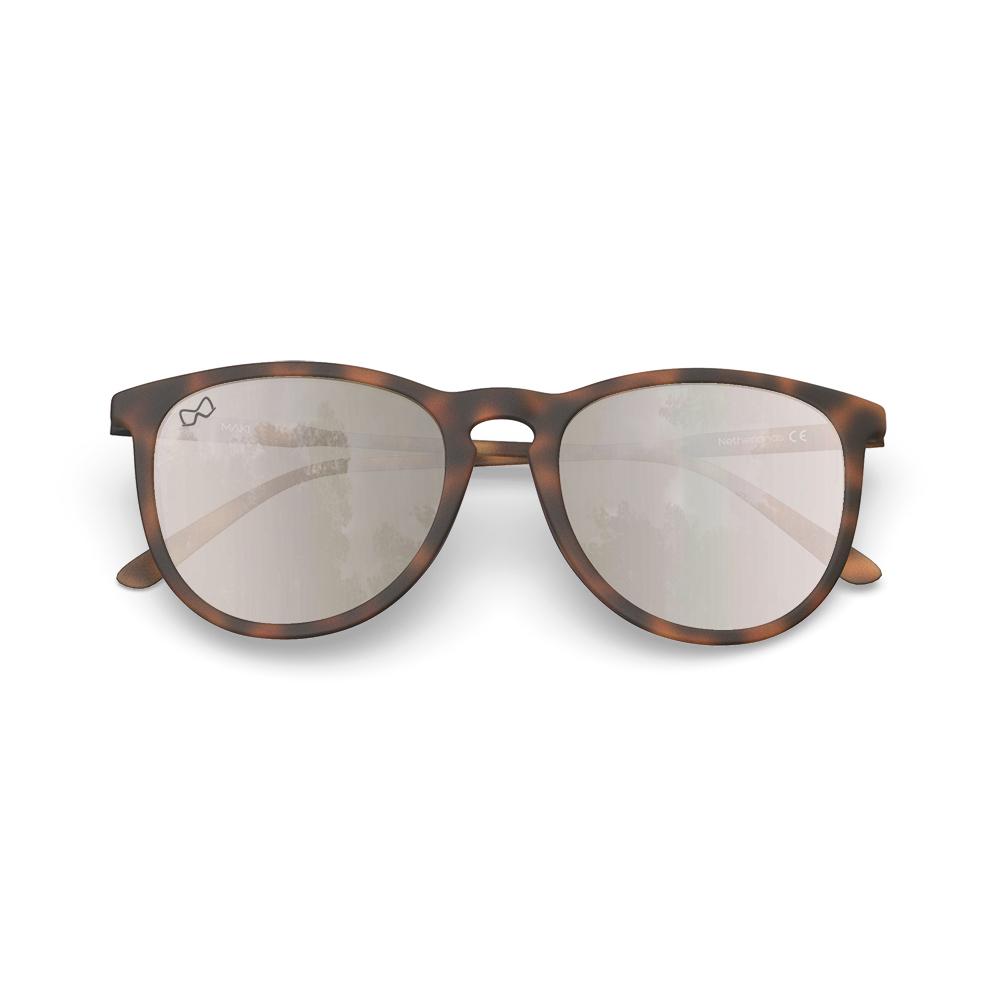 Mariener-Maki-Round-Rubber-Tortoise-Amber-Silver-Sunglasses-Bruine-Zonnebril-Overview