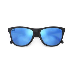 Melange – Matte Black Rubber | Matte Reflective Sky Wayfarer Sunglasses