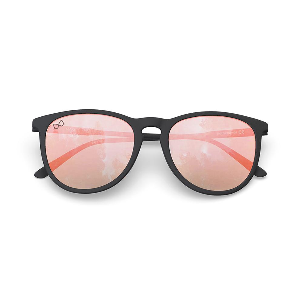 Mariener-Maki-Round-Rubber-Matte-Black-Rose-Gold-Sunglasses-Zwarte-Zonnebril-Folded