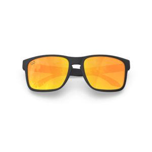 Makan – Matte Black Rubber | Orange Lava Rectangular Sunglasses